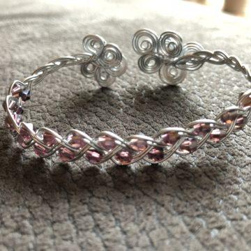 Flechtarmband zierlich Glasschliffperlen violett Silber2