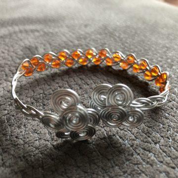 Flechtarmband zierlich silber Glasschliffperlen Orange