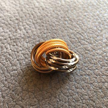 Magischer Knoten Cognac Schoko diamant orange gepr
